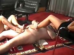 Footjob domination wits three goddesses