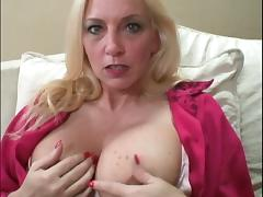 Hungry milf is sucking and rubbing three dicks
