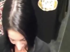 Dark haired girl sucking friends cock