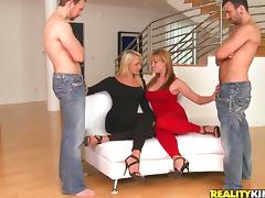 Two Pretty Babes Get Their Asses Fucked in CFNM Foursome