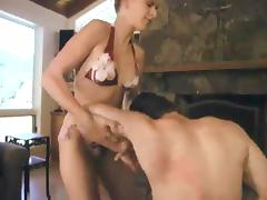 Sexy Audrey Leigh tortures guy's dick in a living room