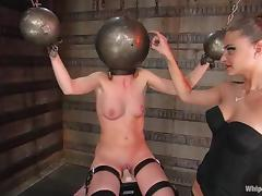Brunette hottie gets tortured and pulled by the nipples in BDSM clip