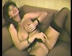 Busty brunette plays with herself before being fucked