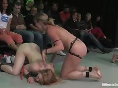 Nasty chicks wrestle in a ring and have wild lesbian orgy tube porn video