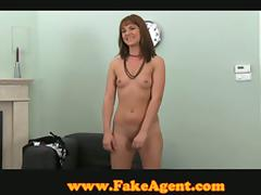 Playful girl sucks and rides interviewer's dick
