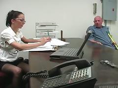 Rod Fontana makes Veronica Jett give him a footjob in an office