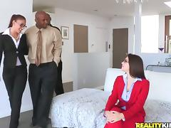 Babes with Glasses in Interracial CFNM Anal Foursome porn tube video