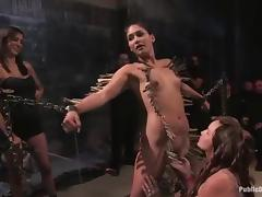 Babe gets belted, twitched and gagged in a public BDSM