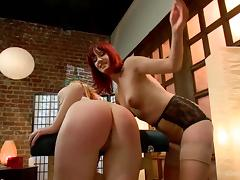 blonde spanked and dominated by her redhead gf