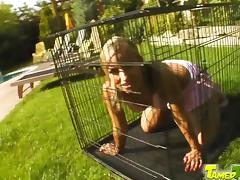 Candy starts out locked in a cage. She is acting good so we let her out to fuck with our guy.