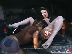 Jenni Lee and Lorelei use machines and toys while making lesbian love porn tube video