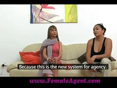 Slim blonde chick poses naked and then gets fucked at a casting