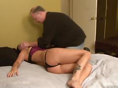 Tied up Brandy Aniston gets toyed by sex machine in a bedroom porn tube video