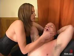Horny Audrey Leigh whips a guy and then drills his ass