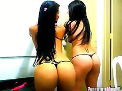 Topless latin girls dance n tease on webcam