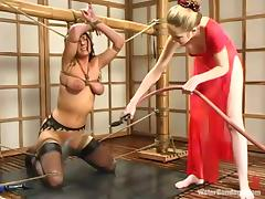 Busty brunette in stockings gets humiliated in Japanese style room
