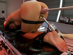 Sweet Breanne Benson gets wrapped and toyed by a machine