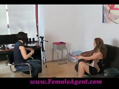 Sexy girl in stockings and high heels has lesbian sex at a casting