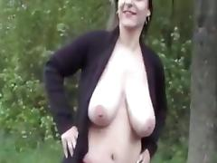 Naughty amateurs fucking near the forest