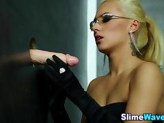 Euro bitch fingering and getting wet and slimed