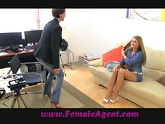 Lesbian sex auditions with a leggy blondie