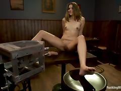 Double dildo machine and a vibrator for Allie Haze tube porn video