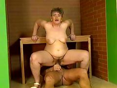 Lewd granny Patricia blows and takes a ride on a dick