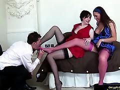 Classy british MILFs getting ready for a threesome fuck tube porn video
