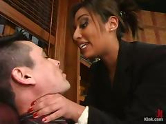 Jasmine Byrne Strapon Fucking His Ass Over the Desk in Office Femdom