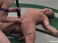 Blonde chicks in bikini finger and toy pussies in a ring tube porn video