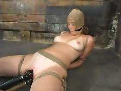 Curly chick gets hog tied and toyed rough in bondage video