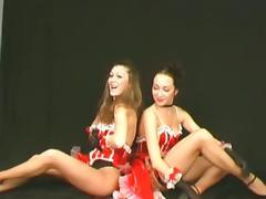 Hot flexible lesbians dancing tube porn video
