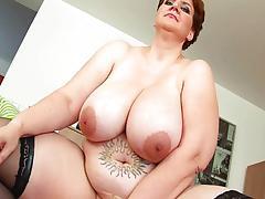 Mature BBW with huge tits finger fucks