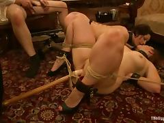 Two tied up whores suck big dicks and get toyed