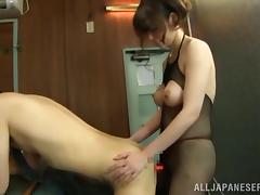 Japanese milf rubs her man's dick and fucks his butt with a strapon tube porn video