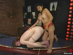 Mika Tan tortures a guy and toys his ass in a bar
