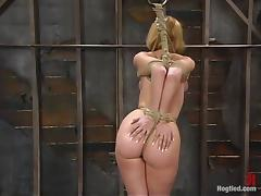 Busty blonde chick gets hog tied and toyed by her master