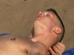 blond twink fucked on the beach