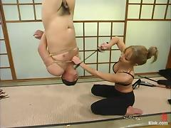 Blonde mom Janay whips Tony lee before pounding his ass with a strapon