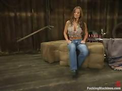 Rita Faltoyano goes to a barn to play with a fucking machine porn tube video