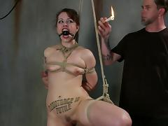tied up slave is tortured with candle wax tube porn video