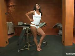 Exotic siren Alexa gets tied up and drilled by a machine