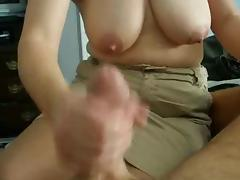 Jacking off her husband before going out to work
