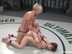 Vendetta fucks Devi Lynne's mouth and vag with a strapon on tatami