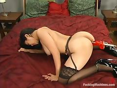 Mika Tan gets her Asian ass drilled by a fucking machine indoors