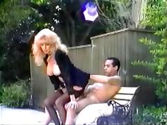 Mature retro blonde Tina Owen blows and gets fucked in the yard