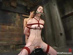 Faith Leon enjoys having wired toys on her nipples and in her vag