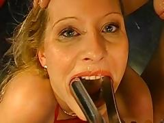 Beauty blonde is swallowing juicy thick white jizz