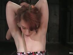 Pretty Justine Joli gets her wet pussy toyed an clothespinned