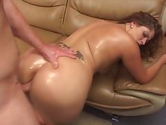 Curvy oiled up MILF sucks a hard thick cock then fucks tube porn video